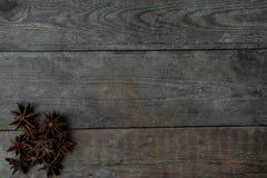 anis på träbakgrund Fotografering för Bildbyråer