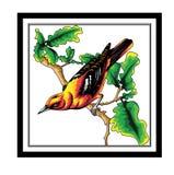 Anis rojos del vector, pájaro del arte abstracto, stock de ilustración