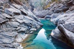 Anisclo峡谷在秋天,韦斯卡省,西班牙 图库摄影