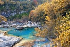 Anisclo峡谷在秋天,韦斯卡省,西班牙 库存照片