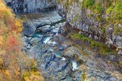 Anisclo峡谷在秋天,韦斯卡省,西班牙 免版税库存照片
