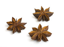 Anise. Three star anise on the white background Royalty Free Stock Images