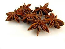 Anise. Some stars of anise on the white background Royalty Free Stock Image