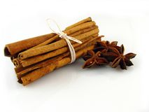 Anise & Cinnamon. Sticks of cinnamon joined white string and stars of anise on the white background Stock Photos
