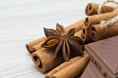 Anise and cinnamon Stock Photography