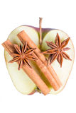 Anise and cinnamon on apple Royalty Free Stock Photography