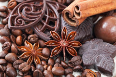 Anise, cinnamon, chocolate and coffee beans Royalty Free Stock Images