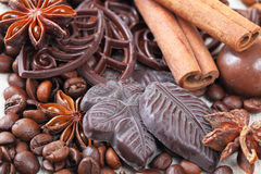Anise, cinnamon, chocolate and coffee beans Stock Image