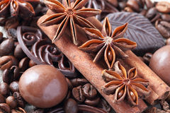 Anise, cinnamon, chocolate and coffee beans Stock Photography