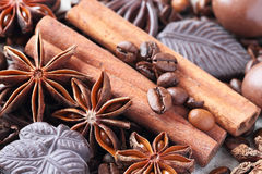 Anise, cinnamon, chocolate and coffee beans Stock Photos