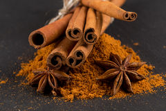 Anise and cinnamon close up Stock Image