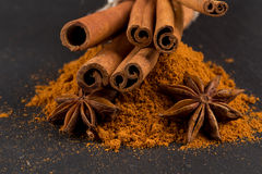 Anise and cinnamon close up Royalty Free Stock Photography