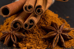 Anise and cinnamon close up Royalty Free Stock Image