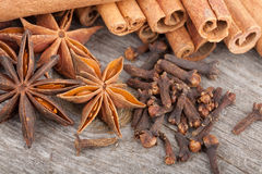 Anise, cinnamon and clove spices Stock Images