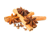 Anise, cinnamon and cloves Royalty Free Stock Photo