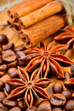 Anise, cinnamon and coffe beans Stock Images