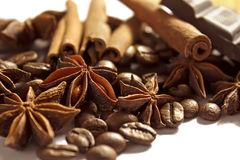 Spices. Anise, cinnamon, coffee and chocolate Royalty Free Stock Photos