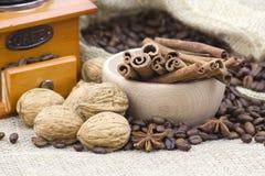 Anise, cinnamon, coffee, nuts Stock Photo