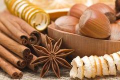 Anise, cinnamon, hazelnuts Royalty Free Stock Photo