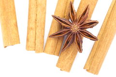 Anise and cinnamon isolated Stock Photo