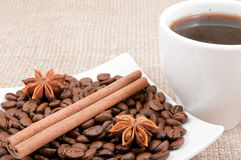 Anise,cinnamon lie in the saucer on the coffee bean Royalty Free Stock Images