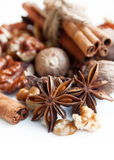 Anise with cinnamon,nutmeg and walnuts Stock Images