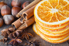 Anise, cinnamon and oranges for christmas Stock Images