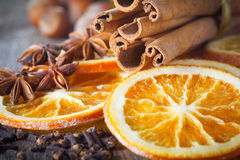 Anise, cinnamon and oranges for christmas Royalty Free Stock Image