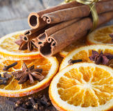 Anise, cinnamon and oranges for christmas Royalty Free Stock Photos