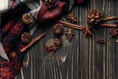 Anise Cinnamon And Pine Cones On Wooden Rustic Background Space Stock Image