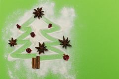 Anise and cinnamon spices christmas tree shape on green background Royalty Free Stock Image