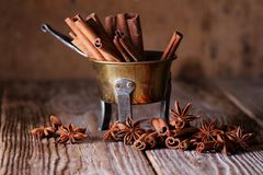Anise and cinnamon sticks Royalty Free Stock Photo