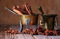 Anise and cinnamon sticks Stock Photo
