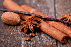 Anise, cinnamon and vanilla pods. Closeup of anise, cinnamon and vanilla pods Royalty Free Stock Photography