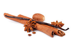 Anise, cinnamon and vanilla pods Royalty Free Stock Photo