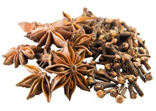Anise and clove. Anise stars and cloves on white background Stock Image