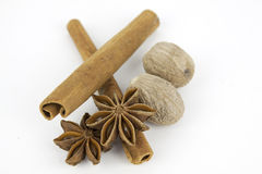 Anise, cloves and cinnamon stick  on white Stock Photos