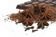 Anise, grated and chocolate Stock Images