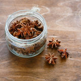 Anise in a low glass jar Royalty Free Stock Photos
