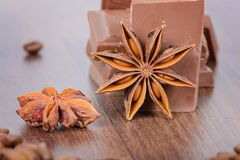 Anise, milk chocolate and coffee beans Stock Photography