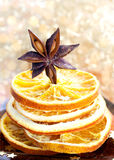 Anise and orange slices Royalty Free Stock Image