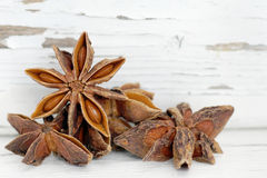 Anise over old white wood Royalty Free Stock Images