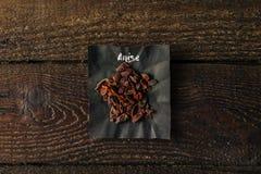 Anise Spice con el nombre escrito en el papel Fotos de archivo libres de regalías
