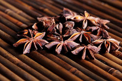 Anise star on bamboo Stock Photo