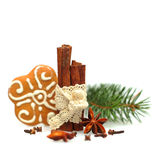 Anise star, cinnamon and Christmas cookies Royalty Free Stock Photo