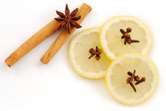Anise star, cinnamon and lemon Royalty Free Stock Photos