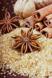 Anise star with cinnamon sticks and walnuts on brown cane sugar. On wooden surface Royalty Free Stock Photos
