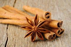 Anise star and cinnamon Stock Photos
