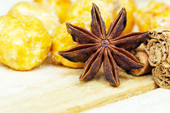 Anise star and roasted nuts Royalty Free Stock Image