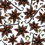 Anise Star Seed, clous de girofle et cosse de vanille, tranches de poire, morceaux de modèle sans fin sans couture découpé d'Appl illustration stock